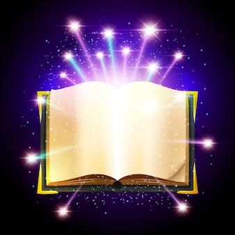 Libro abierto con hojas en blanco y brillantes chispas mágicas