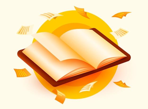 Libro abierto con hojas de papel voladoras