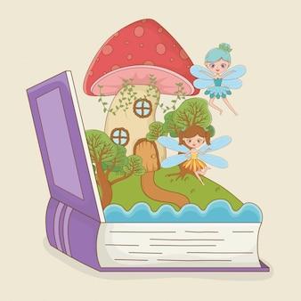 Libro abierto con hongo de cuento de hadas con hadas.