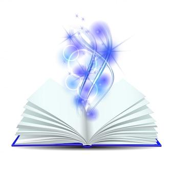 Libro abierto con luz mágica