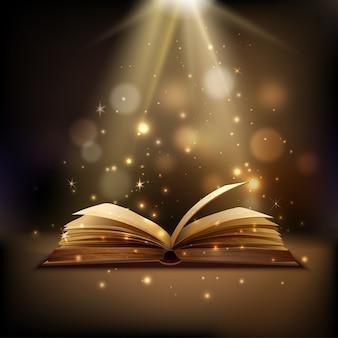 Libro abierto con luz mística brillante.