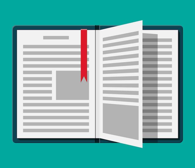 Libro abierto con una página invertida y marcador.