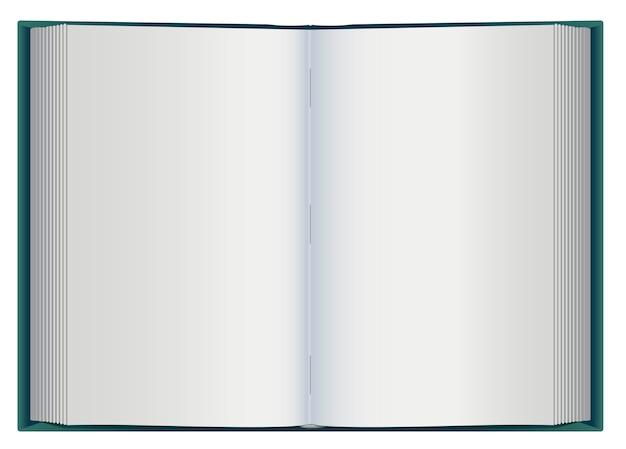Libro abierto con páginas en blanco en blanco