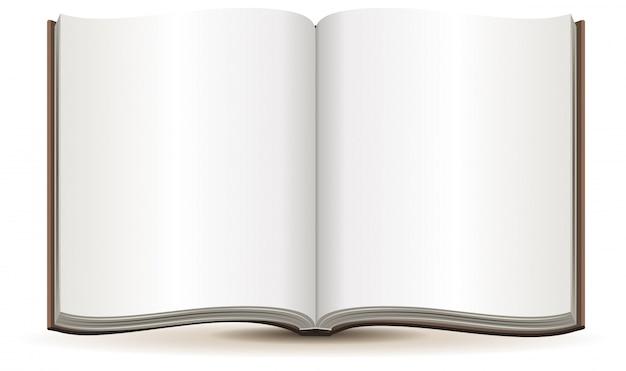 Libro abierto con páginas en blanco en una cubierta marrón