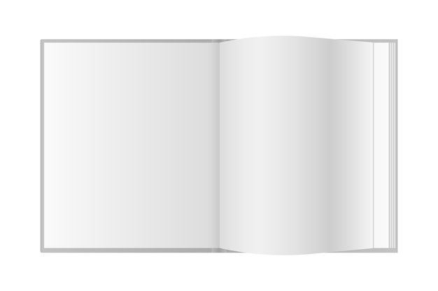 Libro abierto realista con lugar para texto
