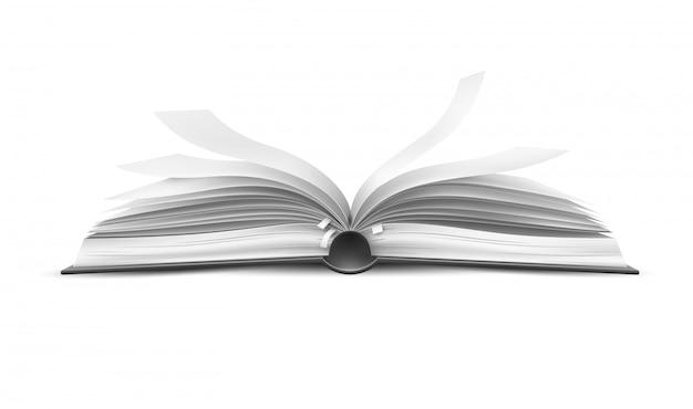 Libro abierto realista vector con páginas revoloteando