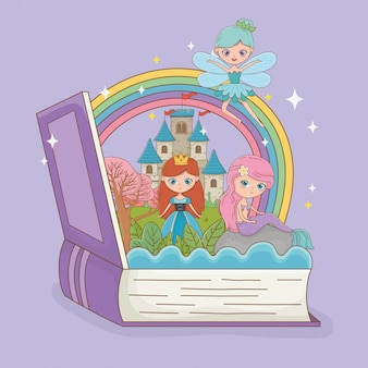 Libro abierto con sirena de cuento de hadas con hada y princesa.