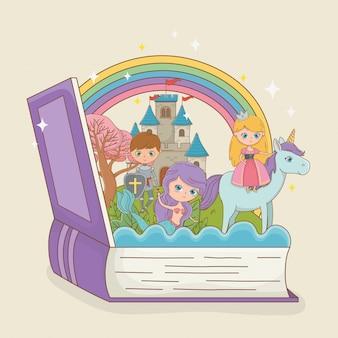 Libro abierto con sirena de cuento de hadas con princesa en unicornio y guerrero