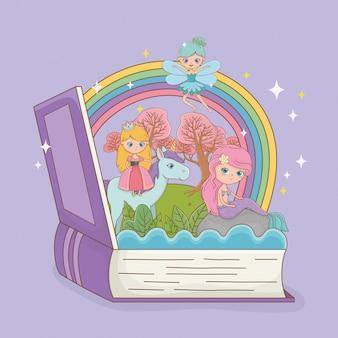 Libro abierto con sirena de cuento de hadas con princesa en unicornio