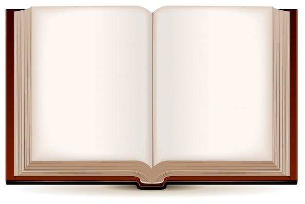 Libro abierto en una tapa marrón