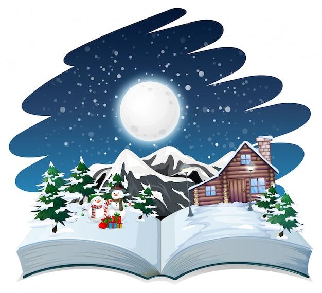 Libro abierto tema de invierno al aire libre