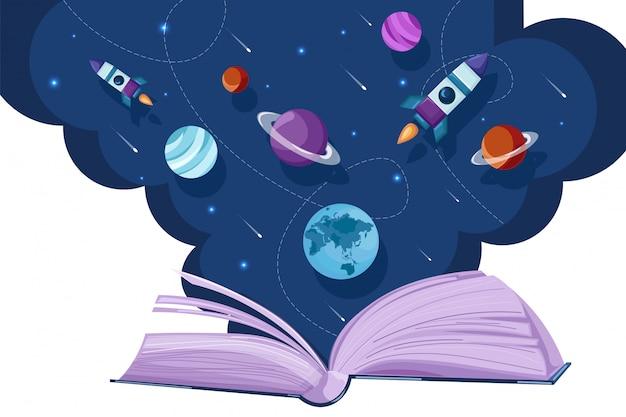 Libro abierto universo leyendo fantasía estilo plano. educación creativa conceptos de lectura