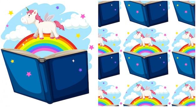 Libro con arco iris aislado en blanco