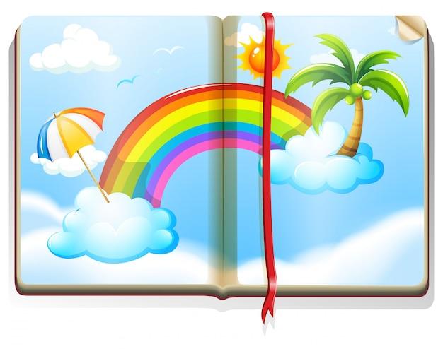 Libro con arcoiris en el cielo.