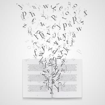 Libro con arte de letras voladoras. ilustración vectorial