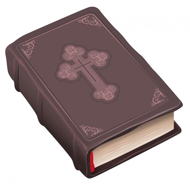 Libro de la biblia vieja cerrada en tapa marrón