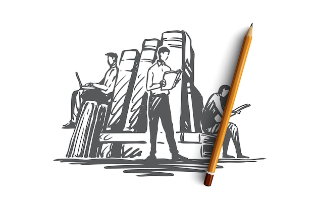 Libro, biblioteca, educación, literatura, concepto de conocimiento. personas dibujadas a mano leyendo libros en el bosquejo del concepto de biblioteca. ilustración.