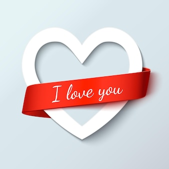 Libro blanco corte corazón de amor con cinta roja para texto. tarjetas de felicitación de la invitación del día de san valentín, ilustración realista del vector