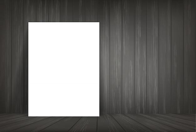 Libro blanco en el fondo del espacio de la habitación oscura.
