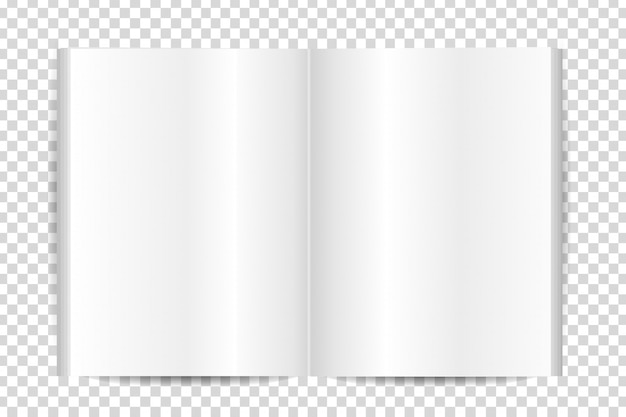 Libro en blanco realista para la decoración en el fondo transparente.