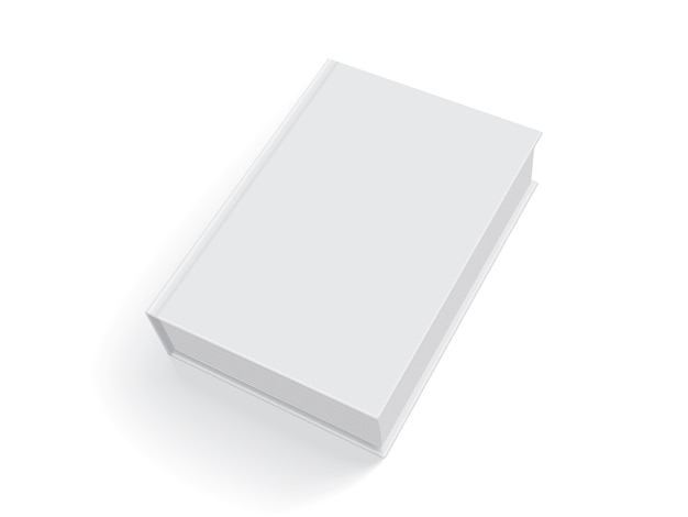 Libro blanco con tapa gruesa aislado sobre fondo blanco.