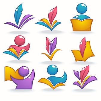 Libro brillante brillante, lectura, educación, iconos, símbolos y logotipo.