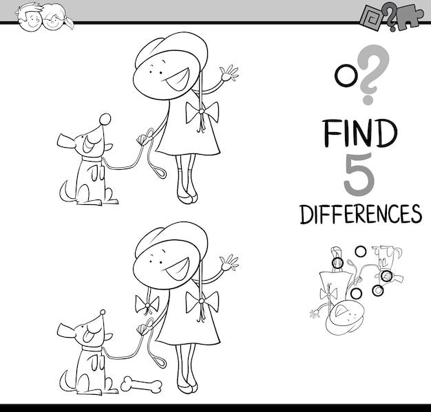 Libro de colorear de actividades de diferencias