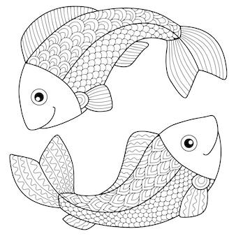 Libro para colorear para adultos. silueta de flechas y arco sobre fondo blanco. signo zodiacal piscis. pez.