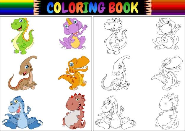 Libro de colorear con la colección de dibujos animados de dinosaurios