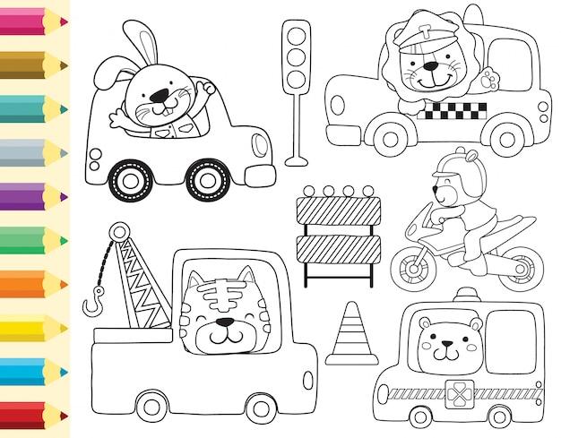 Libro para colorear con conjunto de dibujos animados de animales conduciendo vehículo