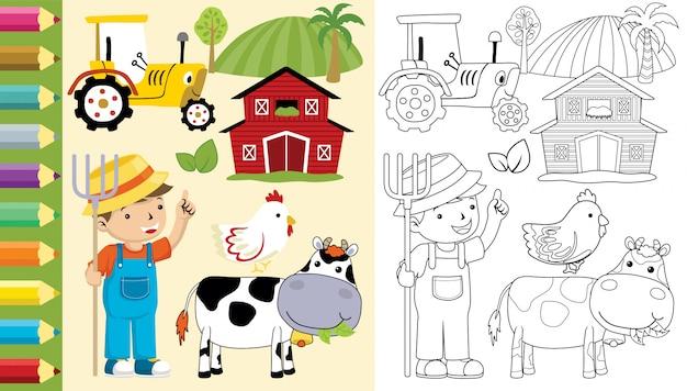 Libro para colorear de conjunto de dibujos animados de tema de granja
