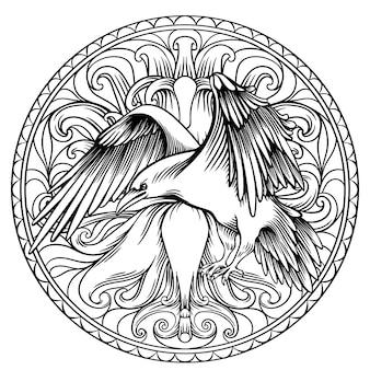Libro para colorear cuervo para adultos, dibujo lineal en círculo.