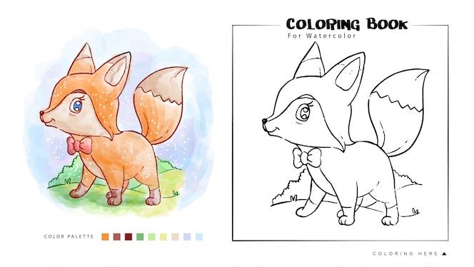 Libro para colorear de Cute Fox Stand con sonrisa cara acuarela ilustración