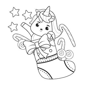 Libro para colorear día de navidad con lindo unicornio