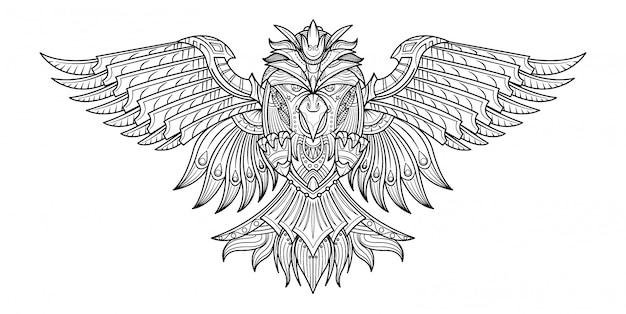 Libro de colorear dibujado mano del vector pájaros en mi imaginación.