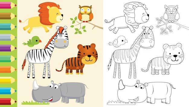 Libro para colorear con dibujos animados de grupo de animales