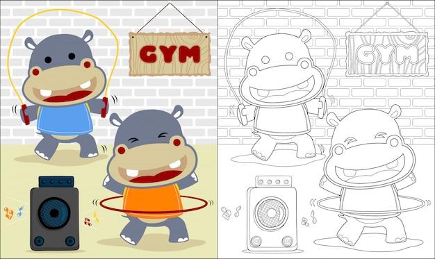 Libro para colorear con dibujos animados de hipopótamo en el gimnasio