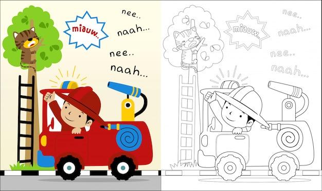 Libro para colorear con dibujos animados de hombre de fuego ayudar a un gato