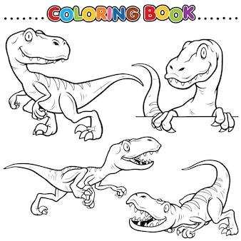 Libro para colorear de dibujos animados - personaje de dinosaurios