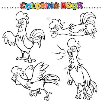 Libro para colorear de dibujos animados - pollo