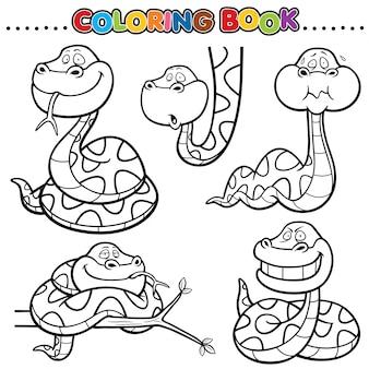 Libro para colorear de dibujos animados - serpiente