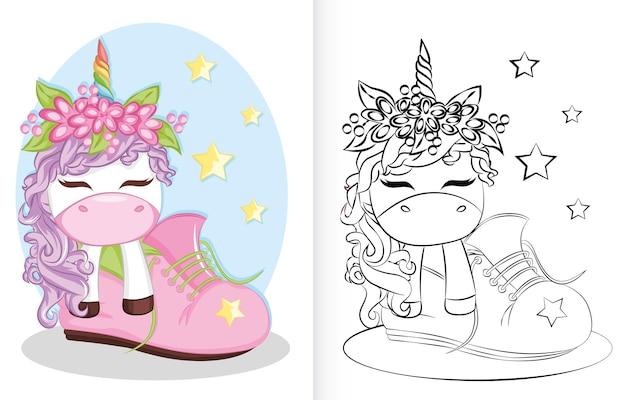 Libro para colorear con dibujos animados de unicornio y arco iris en los zapatos. libro para colorear para niños en edad preescolar.