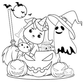 Libro para colorear de halloween linda niña bruja14 Vector Premium
