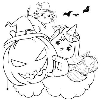 Libro para colorear de halloween linda niña bruja6