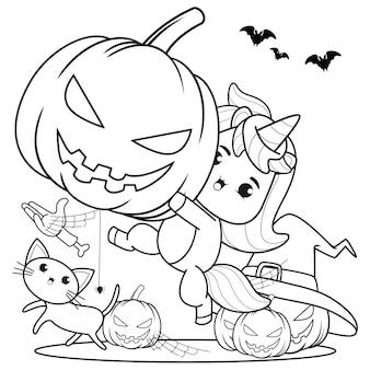 Libro para colorear de halloween linda niña bruja