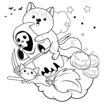 Libro para colorear de halloween con lindo husky11