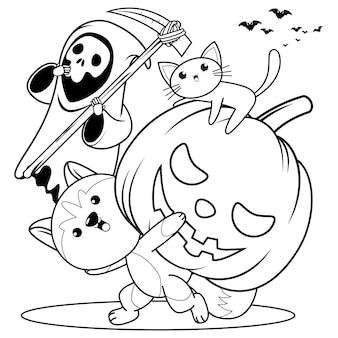 Libro para colorear de halloween con lindo husky12