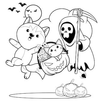 Libro para colorear de halloween con lindo husky13