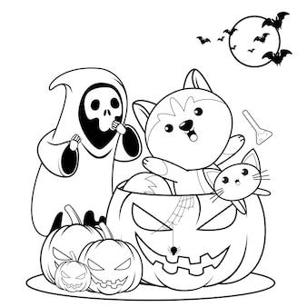 Libro de colorear de halloween con lindo husky14