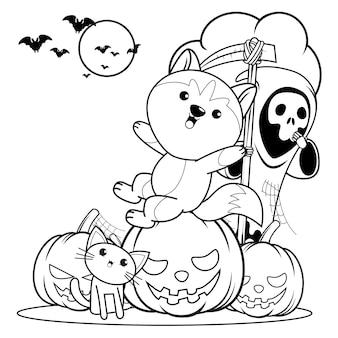 Libro para colorear de halloween con lindo husky18